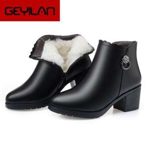 Ladies Shoes Snow-Boots Waterproof Winter Genuine-Leather Woman Warm Wool Ankle Female