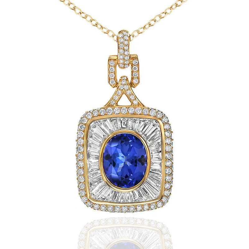 Huitan Newly Gold Color Women Engagement Pendant Necklace Blue CZ Charm Noble Lady Evening Party Accessories Gift Luxury Jewelry