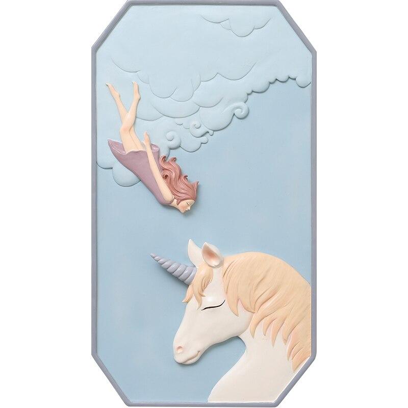 Roogo скандинавские сны Девушка настенное украшение для дома аксессуары 3D настенное искусство полимерная для домашнего декора для декора гостиной - 4