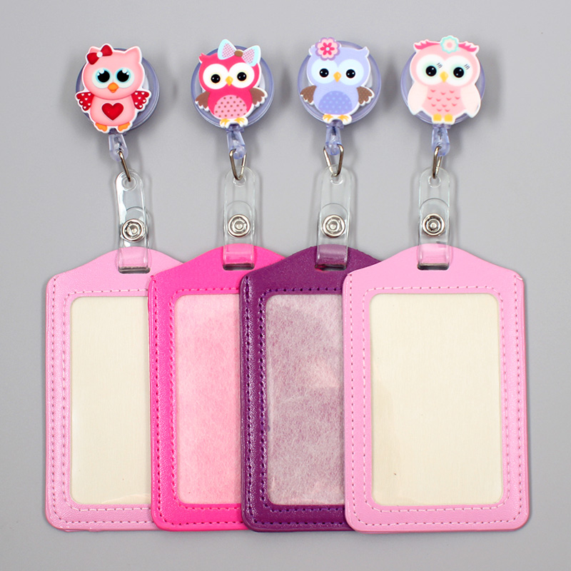 Cartoon Cute Owl Retractable Badge Holder Reel Exhibition Enfermera Students Name Card Girls Hospital Office Chest Vertical Card