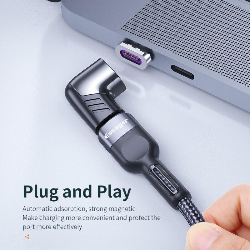 Магнитный адаптер Essager 100 Вт USB Type C штекер Type-C на USB C гнездо, магнитный разъем для Mackbook Pro Huawei USB-C