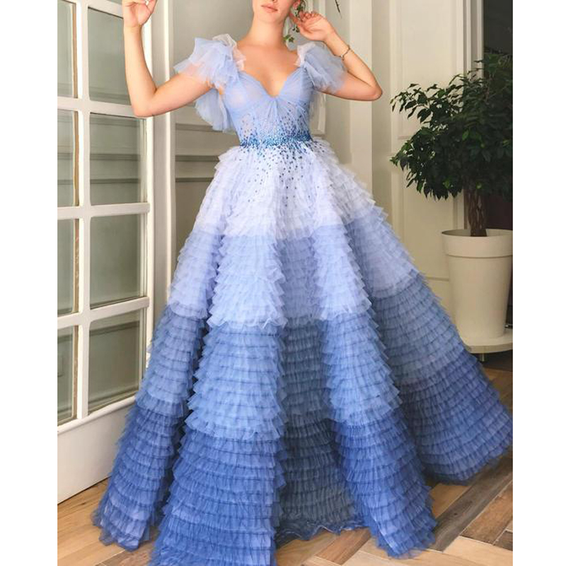 2019 Couture Ombre Blue Robe de soiree Layered Tulle Elegant Evening Formal Dress V Neck Short Sleeve Prom Party Gowns Vestido