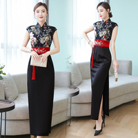 Old fashion Chinese party evening women qipao dress