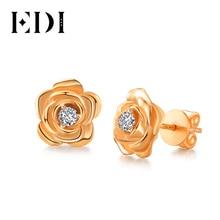 EDI ของแท้ Moissanites เพชร 14 K 585 Rose Gold STUD ต่างหู Rose ดอกไม้หญิงเครื่องประดับ