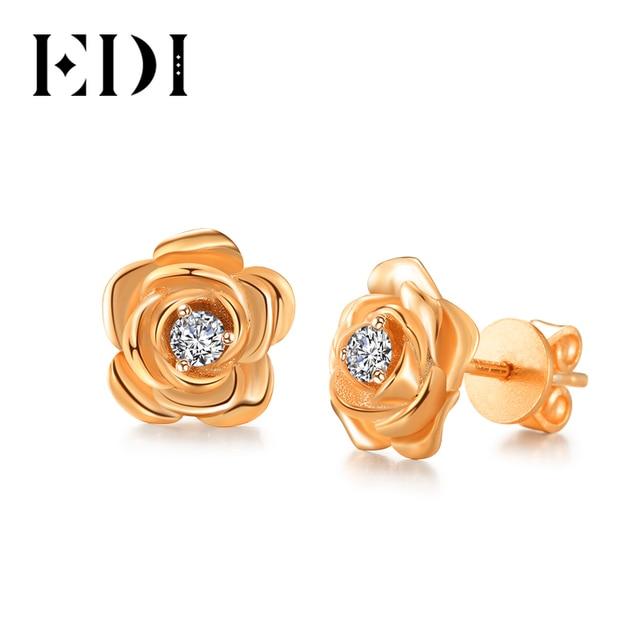 EDI boucles doreilles en diamant, véritable or Rose, bijou de mariage pour femmes, 14k, 585