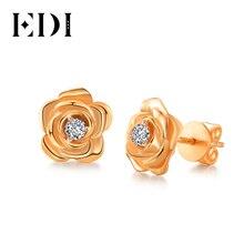 EDI genuino diamante Moissanites 14k 585 pendiente de botón oro rosa pendientes Rosa florales para mujer boda joyería fina