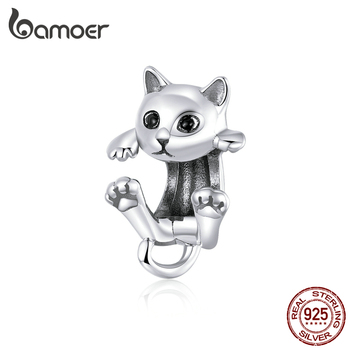 Bamoer Authentic 925 Sterling Silver Cute Cat Kitty Animal Beads Charm For Original 3mm Bracelet Bangle Girl Gifts BSC208