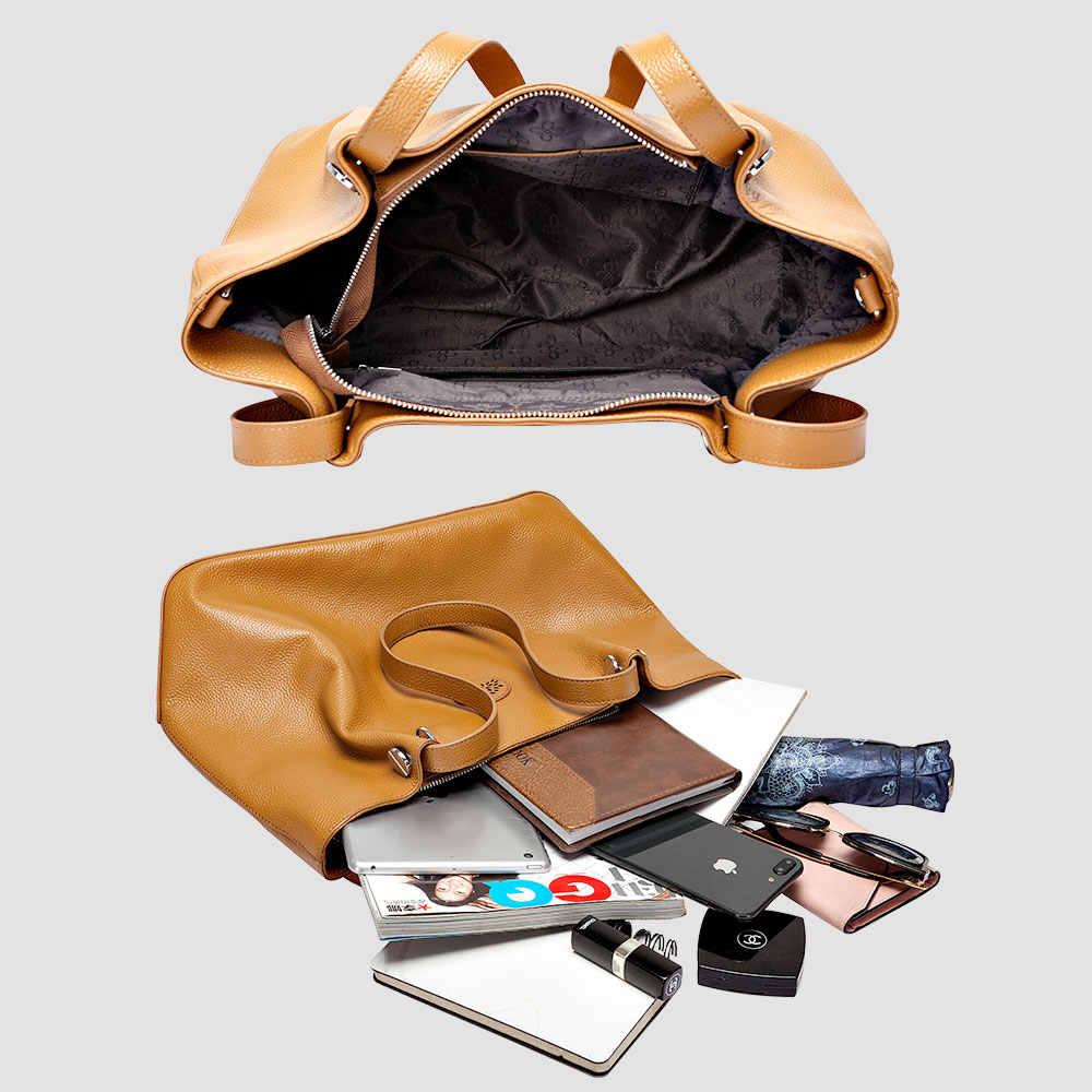 Zency grande capacidade das mulheres bolsa de ombro 100% couro genuíno bolsa simples moda senhora crossbody mensageiro bolsa tote preto