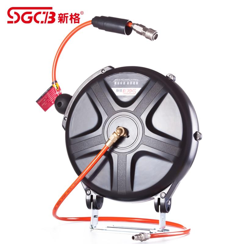 SGCB Air Hose Reel Water Hose Reel Power Cord Wire Reel Pressure Hose Reel 10 Meters Water And Air Hose 7 Meters