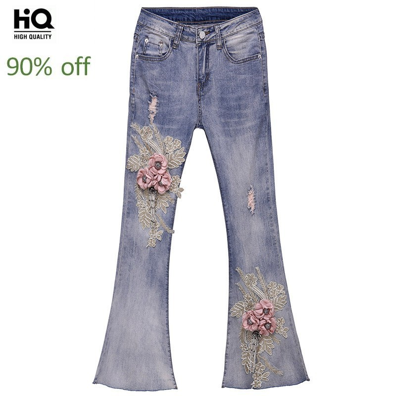 Embroidery Flower Flared Jeans For Women 2020 New Tassel Slim Fit Denim Trousers Female Washed Zipper Fly Blue Jeans Pants Girl