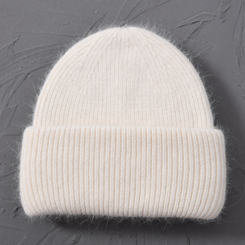 Casual Women's Hats Cashmere Wool Knitted Beanies Autumn Winter Brand New Three Fold Thick 2020 Knitted Girls Skullies Beanies 17