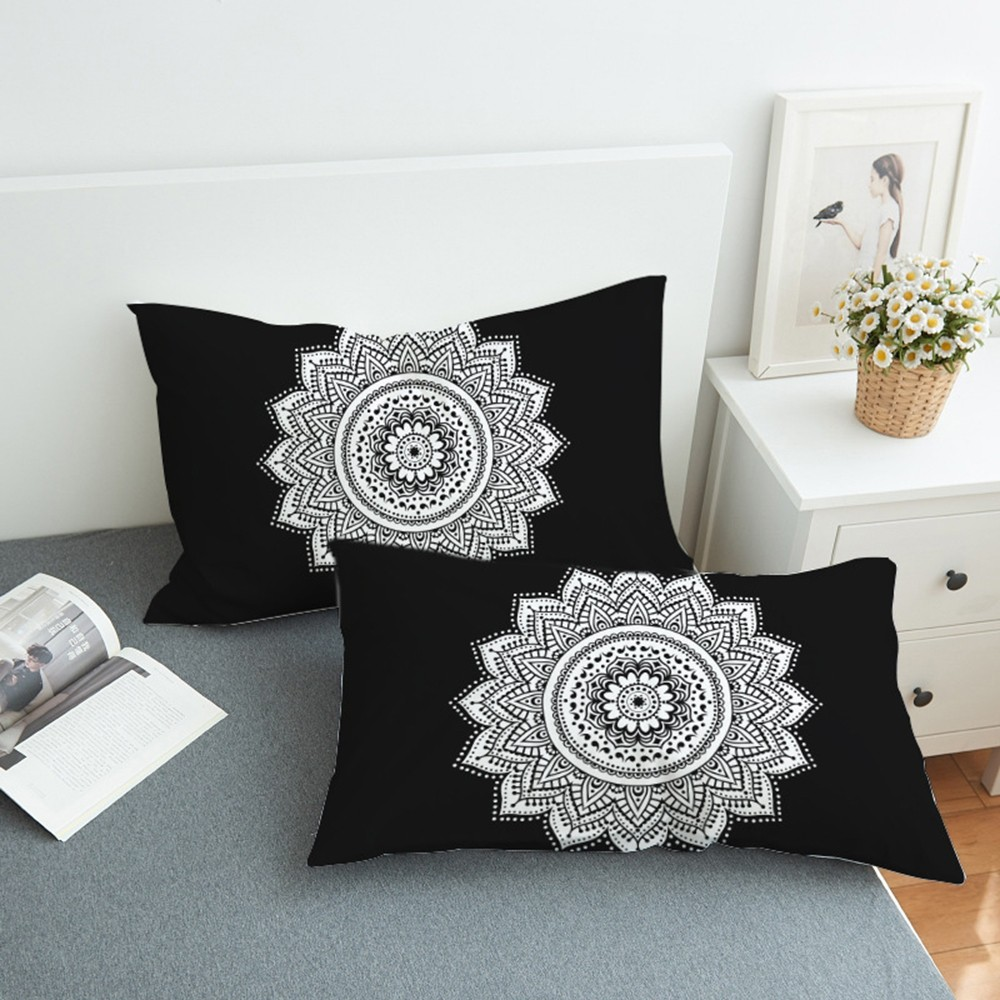 2pcs Flowers Bohemian Pillowcase Black and White Lotus <font><b>Pillow</b></font> Cover Mandala Floral Pinted <font><b>Pillow</b></font> <font><b>Case</b></font> 50x75cm <font><b>50x90cm</b></font> image