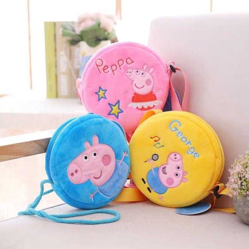 새로운 원본 Peppa 돼지 조지 플러시 장난감 인형 라운드 포켓 지갑 키즈 여자 유치원 가방 배낭 어린이 크리스마스 선물