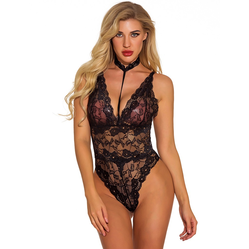 Plus Size Women Sexy Lingerie Halter Lace  Porno Backless Sexy Underwear Erotic Babydoll Sleepwear Bodysuit Teddy Pajamas S-2XL