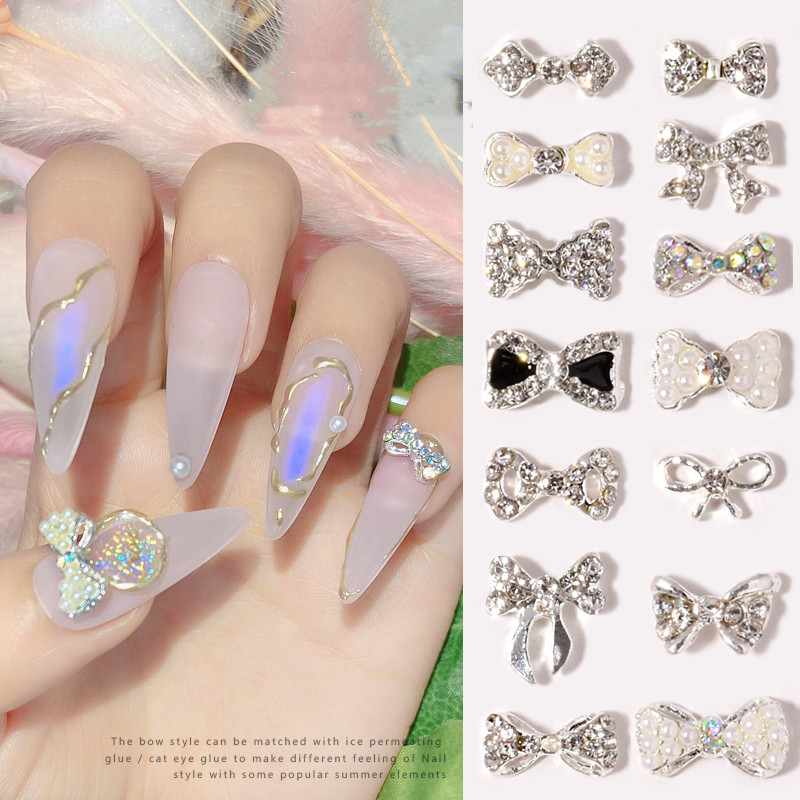 10 pieces of bow nail art jewelry pearl new super flash rhinestones Japanese pearl bow flat nails decoration diamond crystal