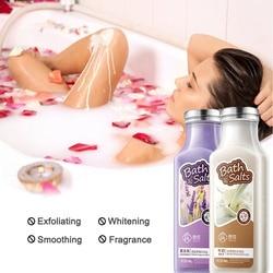 1 Juego de 2 piezas de sales de baño hidratantes limpieza de la piel nutritiva y blanqueadora de leche y lavanda cuidado de la piel