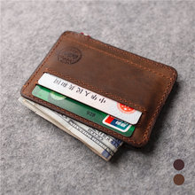 Мужской тонкий бумажник из натуральной кожи Ретро стиль ручная