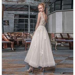 Image 2 - Verngo Aline Kurze Hochzeit Kleid Elfenbein Appliques Tüll Backless Hochzeit Kleider Elegante Braut Kleid vestidos de novia 2019