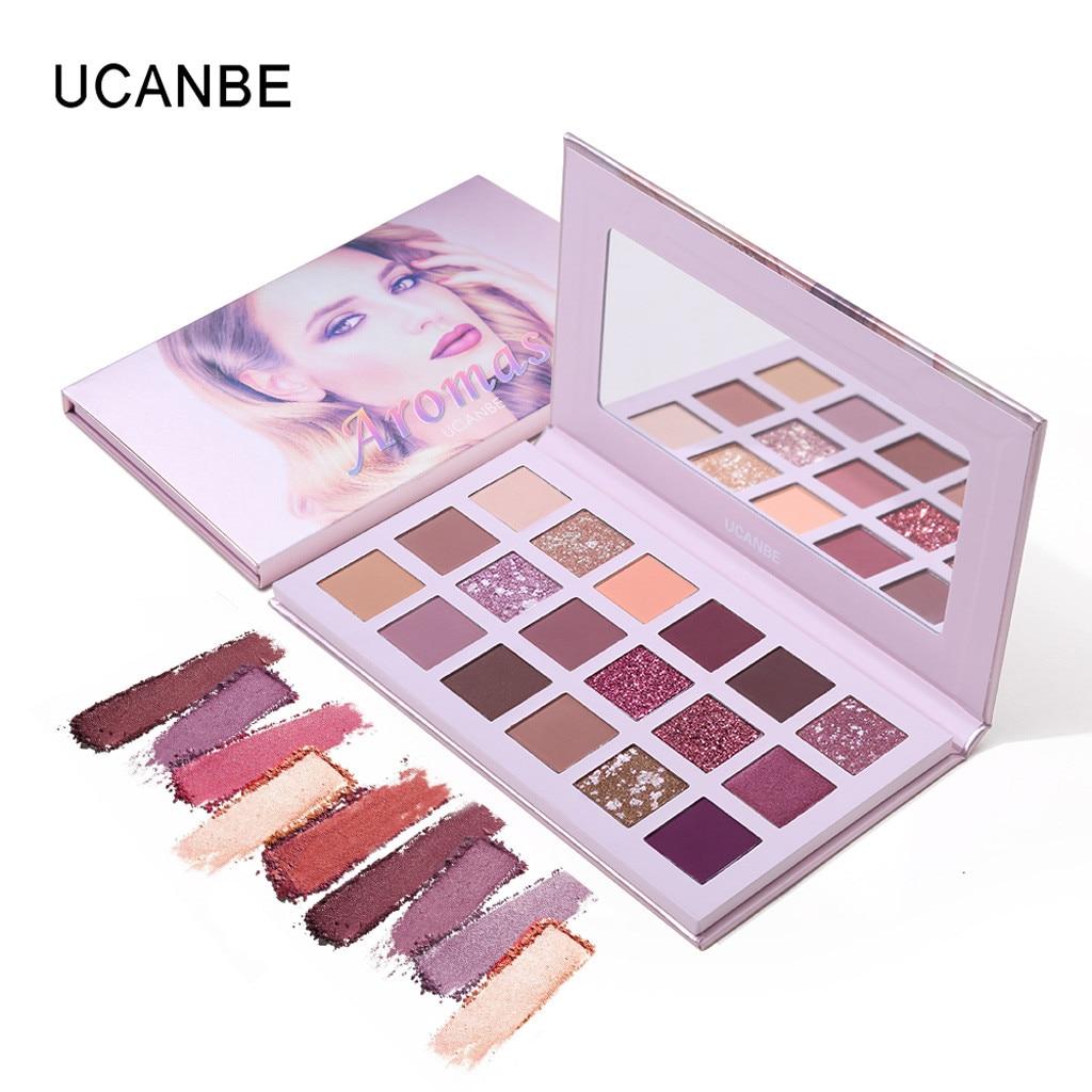 UCANBE 18 Color Nude Shining Eyeshadow Pearlescent Makeup Glitter Pigment Eye Shadow Palette Waterproof Tray Eye Cosmetics in Eye Shadow from Beauty Health