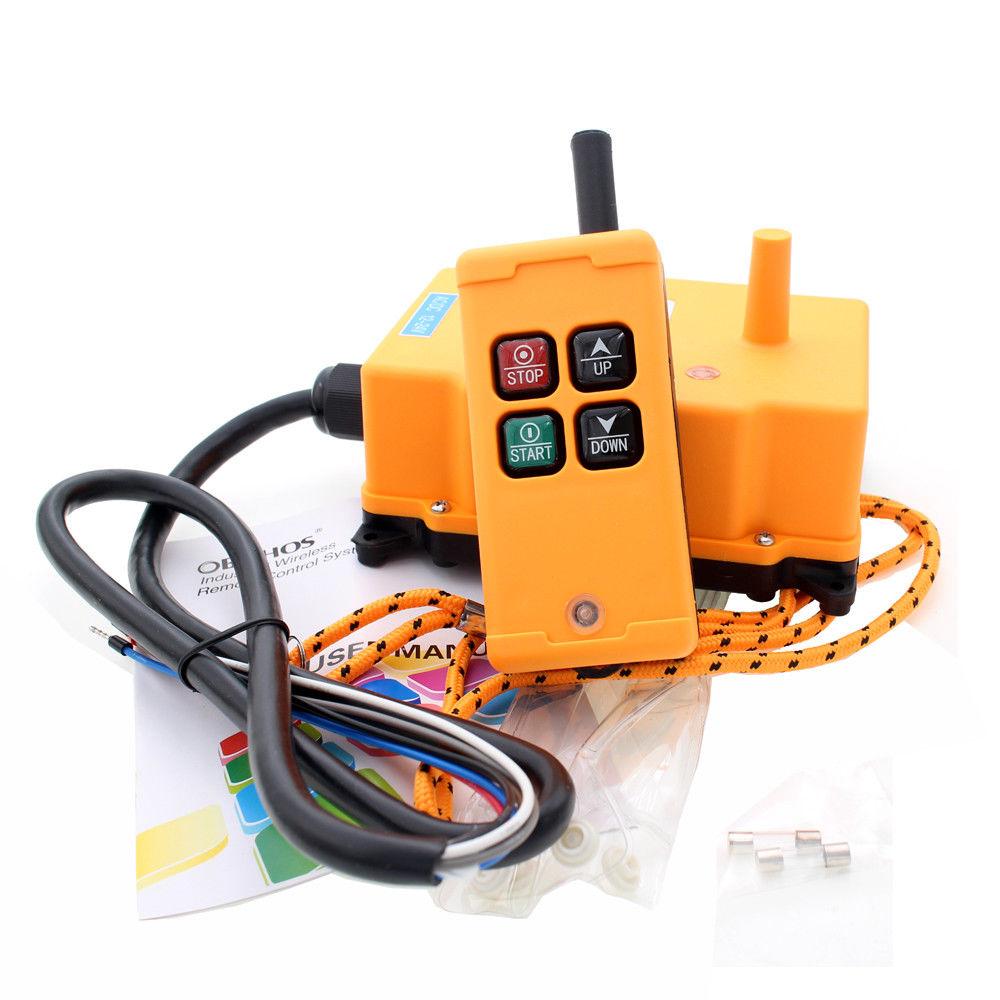 OBOHOS 12V 24V 220V 380V HS 4 4 Channels 1 Speed Control Hoist industrial wireless Crane Radio Remote Control System|Switches| - AliExpress