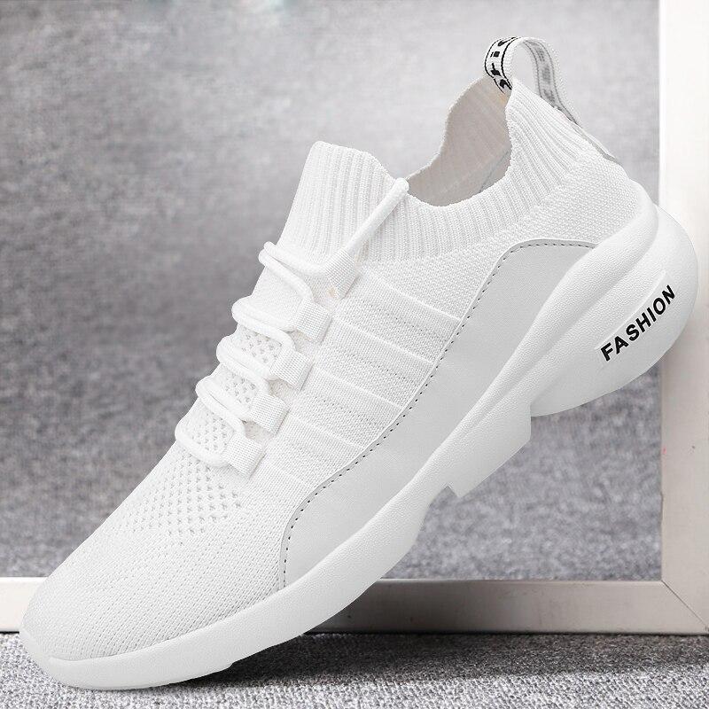 Damyuan 2020 Men's Casual Shoes Flying Weave Super Light Running Shoes Slip-on Sock Sneakers Outdoor Jogging Walking Mesh Tenis