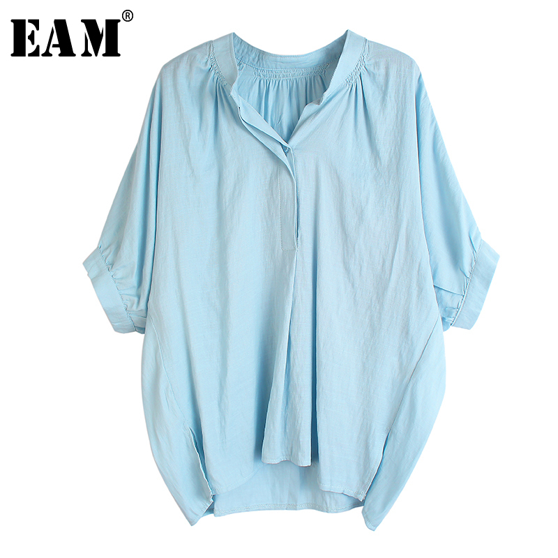[EAM] Women Blue Multicolor Big Size Blouse New V-collar Half Batwing Sleeve Loose Fit Shirt Fashion Spring Summer 2020 1U103