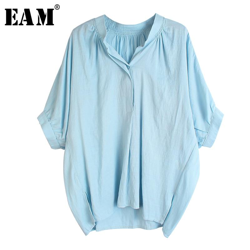 [EAM] Women Blue Multicolor Big Size Blouse New V-collar Half Batwing Sleeve Loose Fit Shirt Fashion Spring Summer 2020 1U103