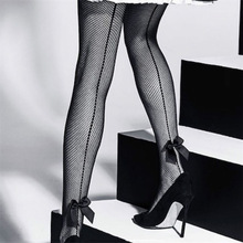 Retro Back Seam Tights Sexy Women Fishnet Pantyhose New One Line Design Bow Fishnet Stockings Ladies Sexy Lingerie Dropshipping