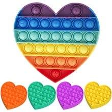 Arco-íris empurrar bolha pops brinquedos sensoriais fidget para autisim anti-stress alívio do estresse pops squishy brinquedos-A-B-C-D-G