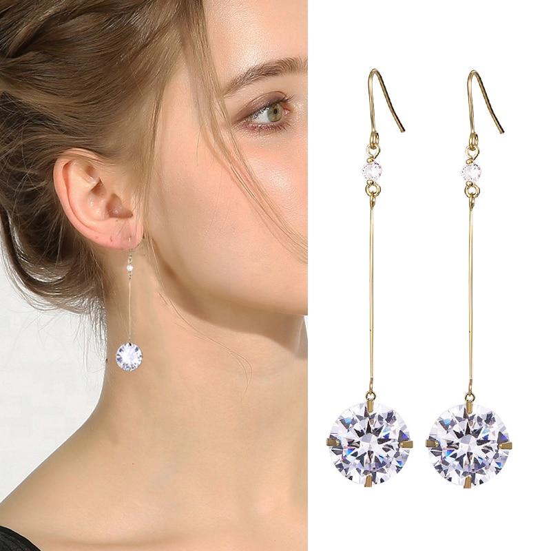 MAIKALE Simple 12MM Zirconia Bead Long Earrings Gold Silver Color Hook Hanging Drop Earrings for Women Accessories Party Jewelry