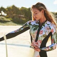 One-Piece Swimsuit Monokini Swim-Wear Surfing Long-Sleeve Floral Female Beach Print Women