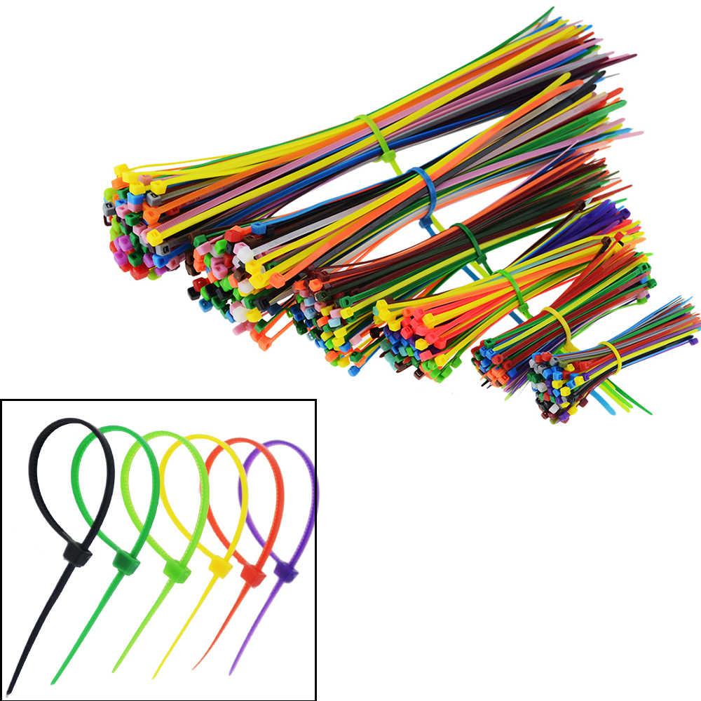 100PCS 10 Colors Mixed Self-locking Nylon Plastic Cable Ties Zip Wraps 2.5*100mm