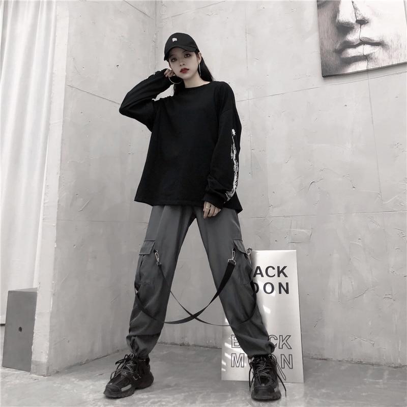 2019 harajuku calças de carga das mulheres