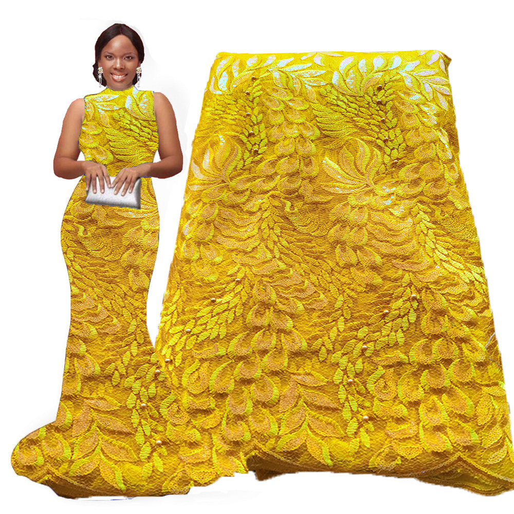 Embroidery Yellow African Lace Fabric with Sequins Beaded Nigerian Lace fabrics high quality french lace fabric for wedding