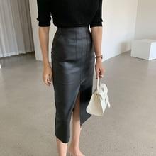 New 2020 Spring Women PU Black White Leather Skirts High Waist office Lady Female Midi Skirts ka702