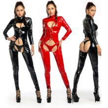 Jumpsuits Latex Bandage Rompers Chest Catwomen Sexy Black for Bare Open-Crotch PU Exotic