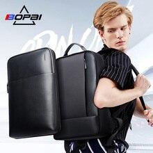 Bopai大容量の男性旅行バッグ着脱式15.6インチノートパソコンのバックパックメイン男性革バックパック