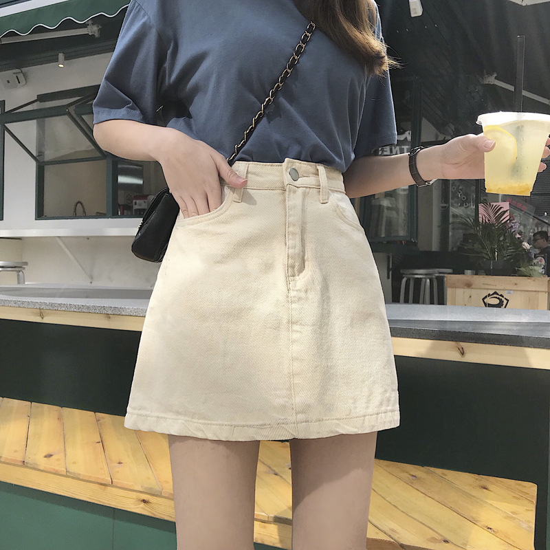 Summer New Style Korean-style Versatile Solid Color Skirt Women's High-waisted Slimming Casual A- Line Skirt Students Denim Skir