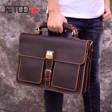 AETOO Mens leather briefcase, vintage mens handbag, crazy horse double compartment 14 inch computer bag