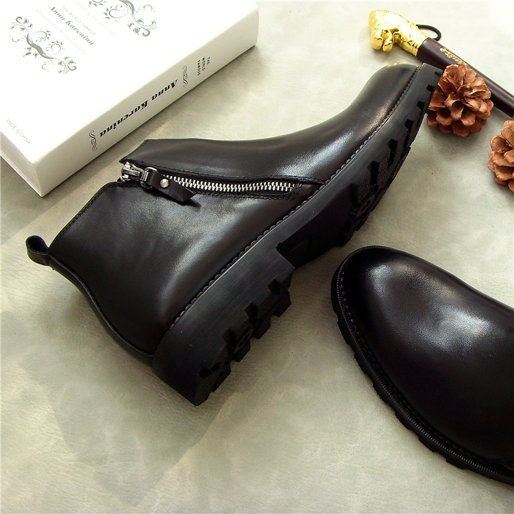 New Men Zipper Black Low Heel Boots Genuine Leather Round Toe Dress Shoes  Fashion High-top Ankle Boots