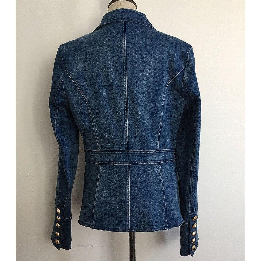 DEAT осенне зимняя двубортная джинсовая синяя куртка с высокой талией, женское короткое пальто, модные металлические пуговицы, WJ02305L - 3