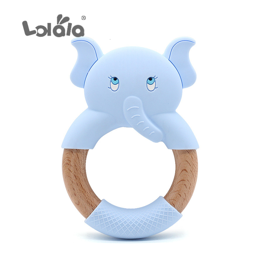BPA-Free Natural Wood Teething Toys Cute Animal Shape for Baby Infants Nursing Soothing Elephant 5 Pack Wooden Teether