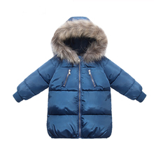 Cotton Winter Jacket For Boys Girls Real Raccoon Fur Hat Coat Long Style Kids Parka Overalls