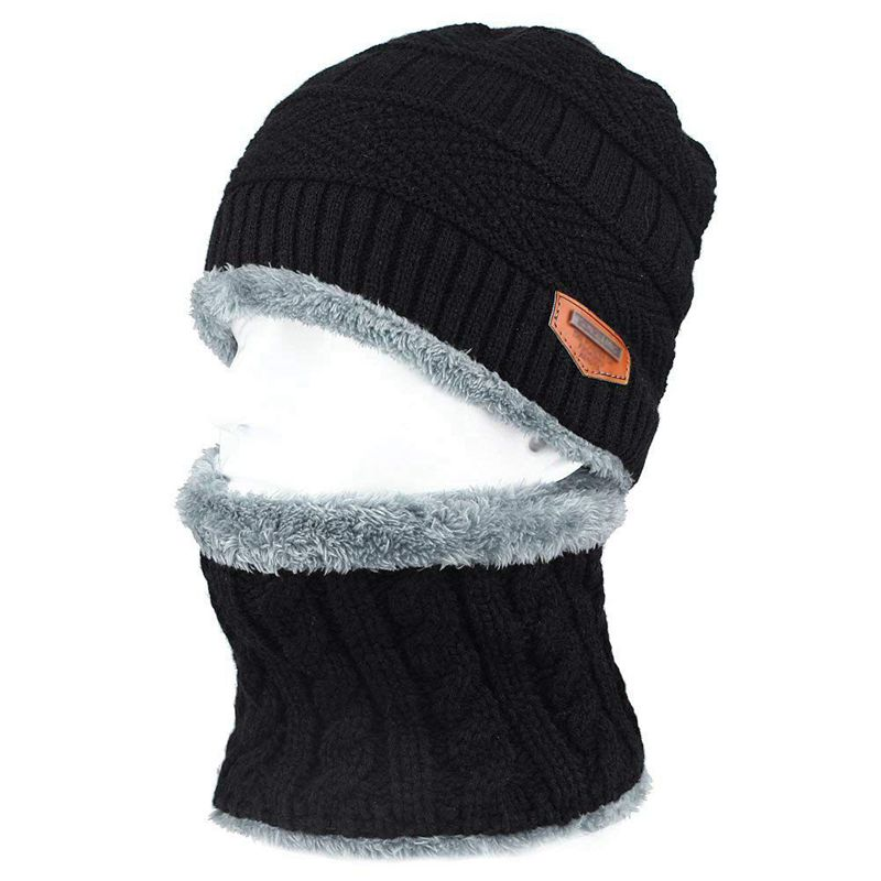 2 PCS Warm Hat Tricot Choker And Scarf With Fleece Lining For Men One Size For Paintball Ski Snow Surf Motorcycle Mountain Outdo