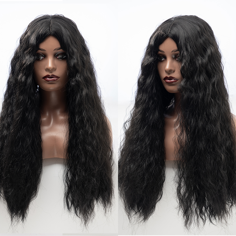 Natural front lace curly wig for black women, 28-inch black hair and light brown hair, heat-resistant cosplay