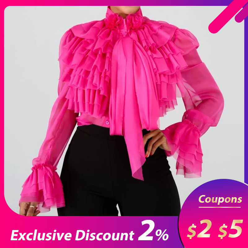 Plain Falbala Blouse Women Long Sleeve Pink Ruffles Female Tops 2019 Summer Office Lady OL Elegant Shirts And Blouses
