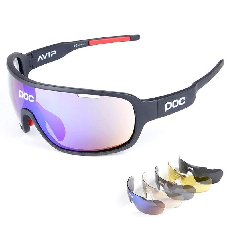 POC de las mujeres de los hombres 5 lente ciclismo gafas de sol deportivas gafas polarizadas de montaña bicicleta de carretera gafas MTB gafas a prueba de viento UV400 gafas