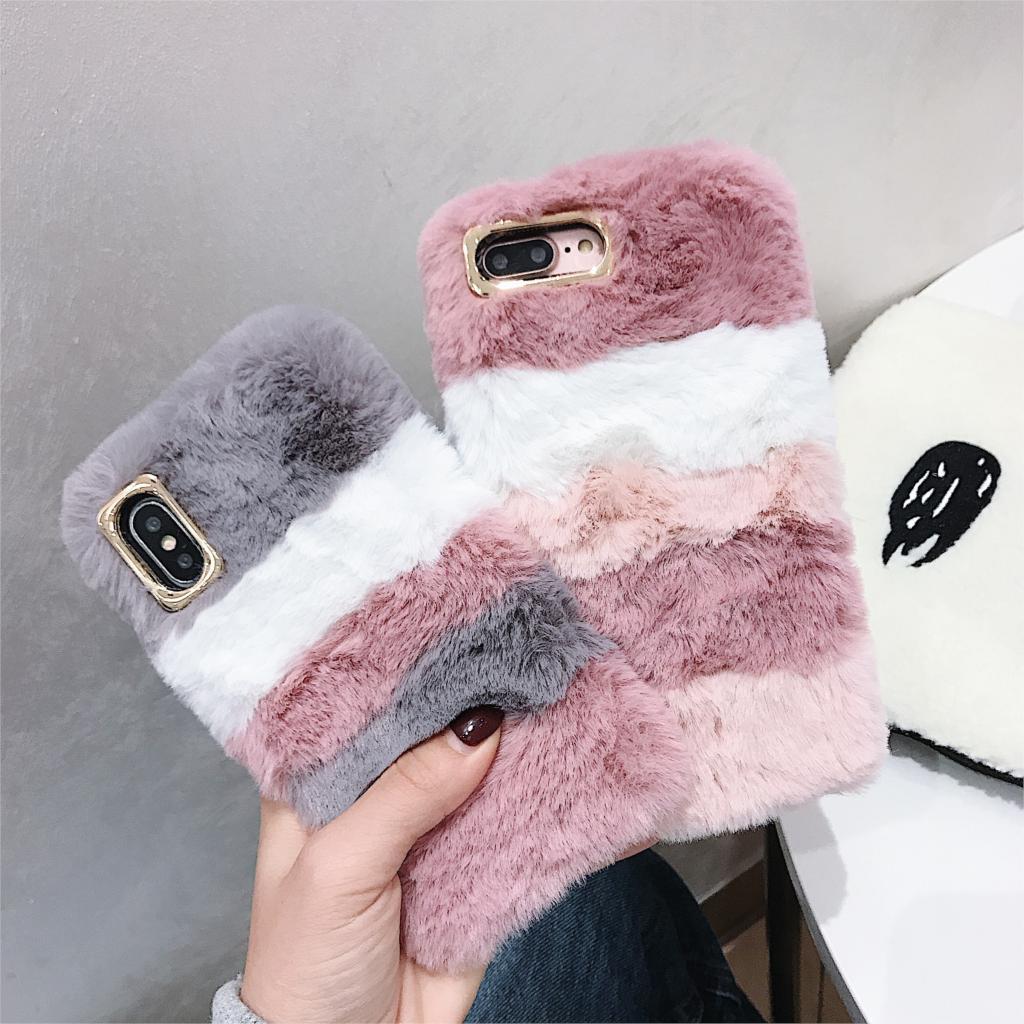 Plush Fur Case For Moto E6 G6 Plus E5 G7 Power Play G5S G4 E4 Plus European C Plus Warm Stripe Cover