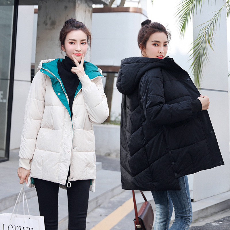 Hot sale Down   parka   winter Korean version of student jacket winter loose and thick medium and long down cotton jacket 8809