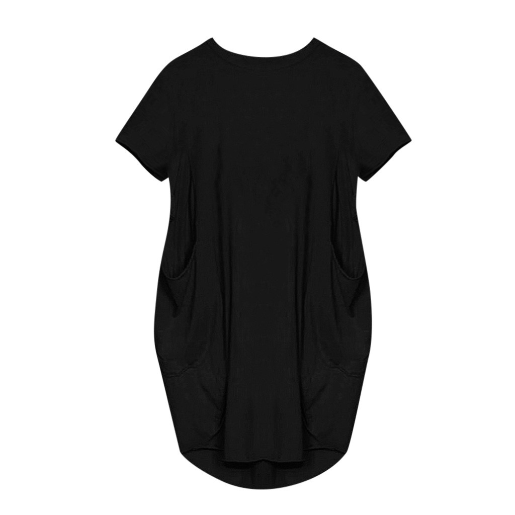 Women Casual Loose Dress with Pocket Ladies Fashion O Neck Long Tops Female T Shirt Dress Streetwear Plus Size женское платье.